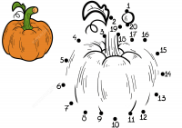Draw dot-to-dots pumpkin Coloring Page