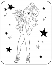 Active sport Bow Bow and Jojo Siwa play together Coloring Page