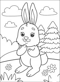 Cute bunny plays in the cloud day Coloring Page