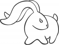 Drawing simple bunny with long ears Coloring Page