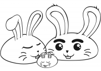 Rabbit parrent with a baby bunny Coloring Page