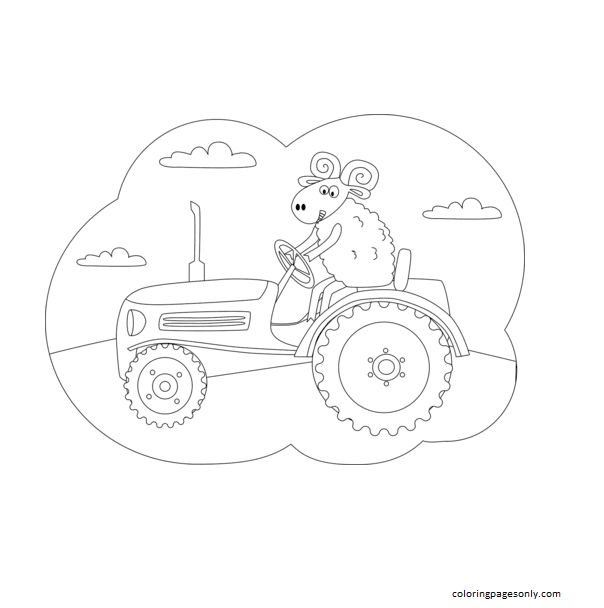 Ram driving the Tractor Coloring Page
