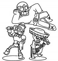 El Primo, Poco and Barley in Rare Brawlers team from Brawl Stars Coloring Page