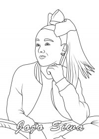Jojo Siwa sitting and thinking of her career Coloring Page