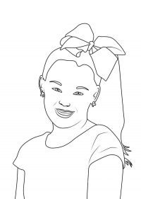 Teengirl Jojo Siwa wears a hairbows Coloring Page