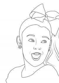 The actress Jojo Siwa shows her teeth Coloring Page