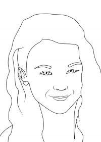 Smiling Jojo Siwa has thick hair Coloring Page