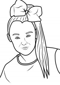 Jojo Siwa has a hairbow and ponitail-style hair Coloring Page