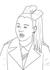 Jojo Siwa wears uniform and hairbow Coloring Page