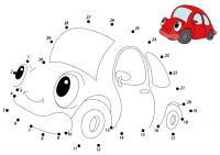 Connect the dots red car 1 to 30 Coloring Page
