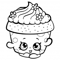 Cute cupcake in the party of Jojo Siwa Coloring Page