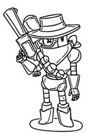 Cowboy Rico from Brawl Stars uses Multiball Launcher Coloring Page
