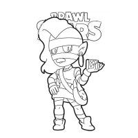 Emz from Brawl Stars gives you a blast of her hair spray Coloring Page