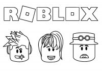 Roblox logo with main characters Coloring Page