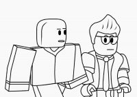 Roblox Noob and Businessman walk around Coloring Page