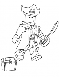 Robloxian face when looking for the treasure chest Coloring Page