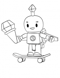 Chibi Roblox rides a skateboard and eats ice cream Coloring Page