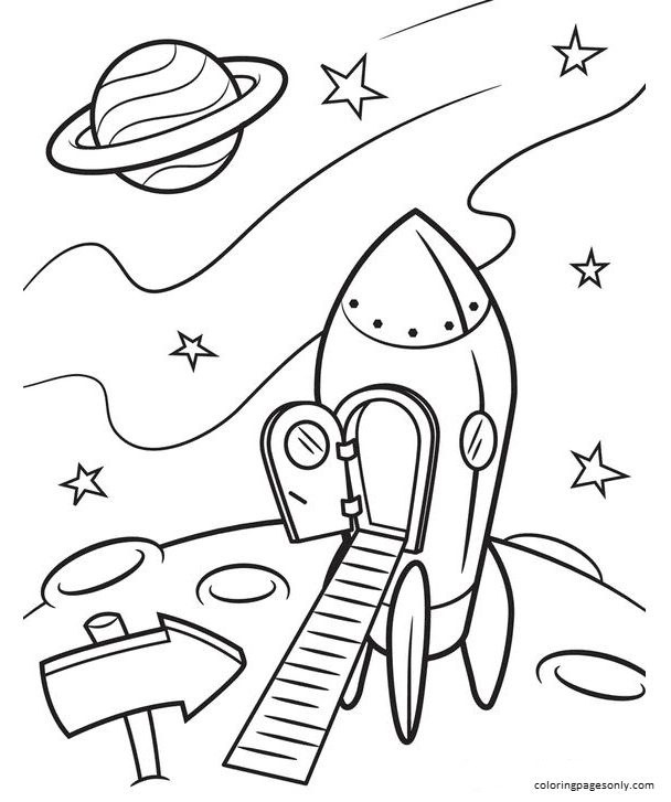 Rocket 8 Coloring Page