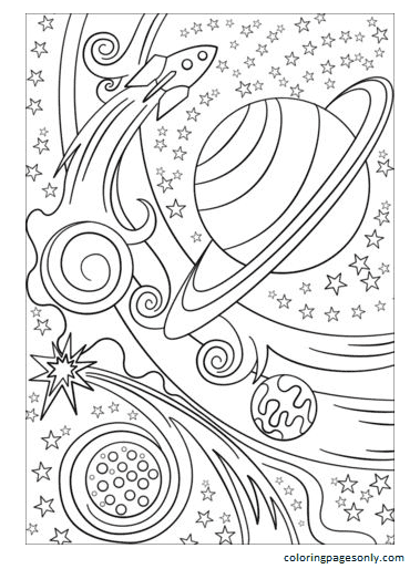 Rocket And Planets Coloring Page