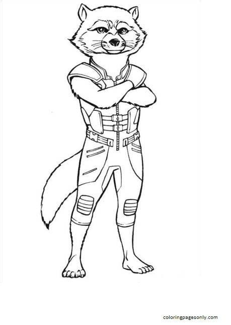 Rocket Raccoon Coloring Page