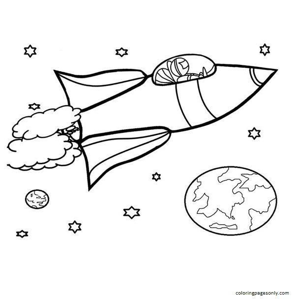 Rocket Ship 2 Coloring Page