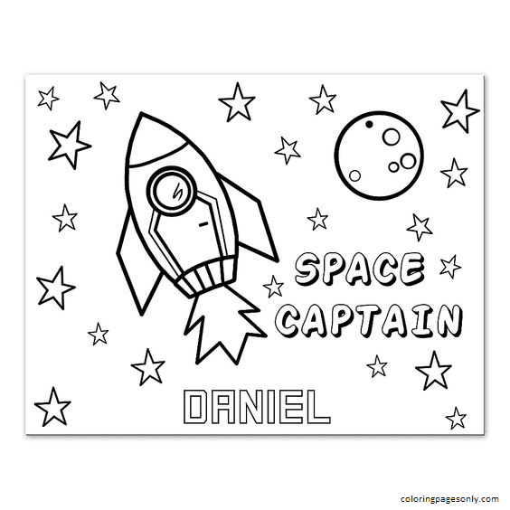 Rocket Space Custom Coloring Page