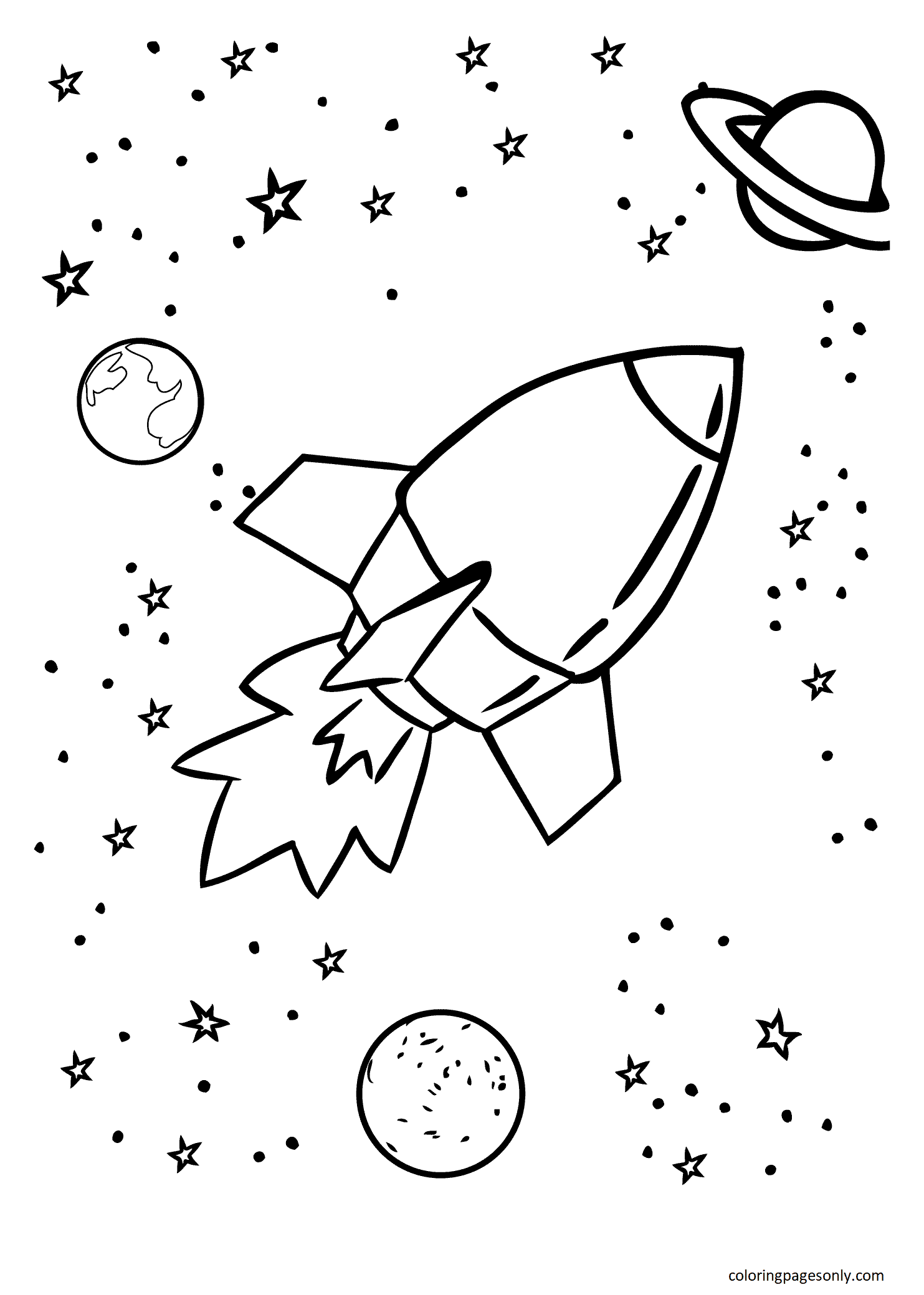 Rocket With Planets Coloring Page