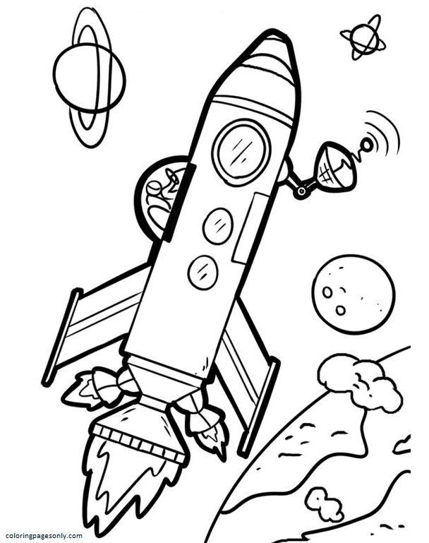 Rocketship 1 Coloring Page