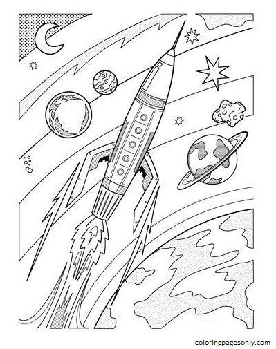 Rocketship Coloring Page
