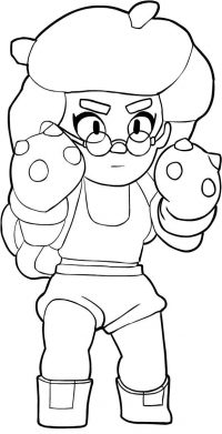 Brawl Stars Rosa attacks in a flurry of three short-ranged punches with her boxing gloves Coloring Page