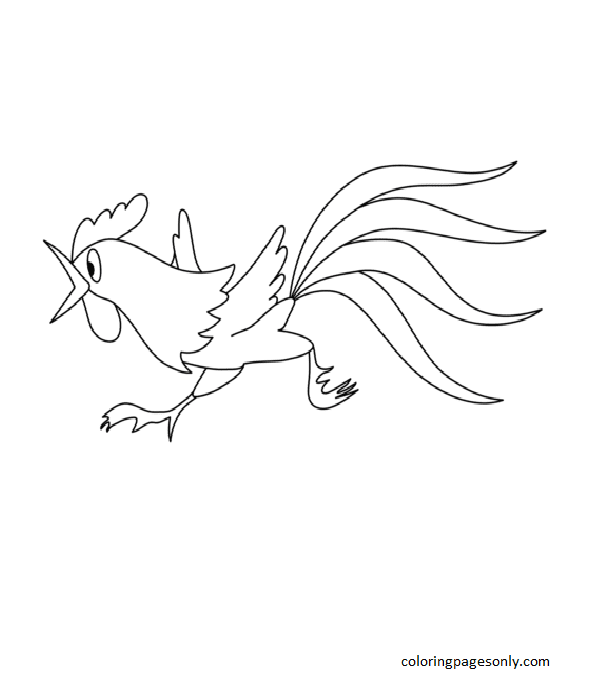 Running Rooster Coloring Page