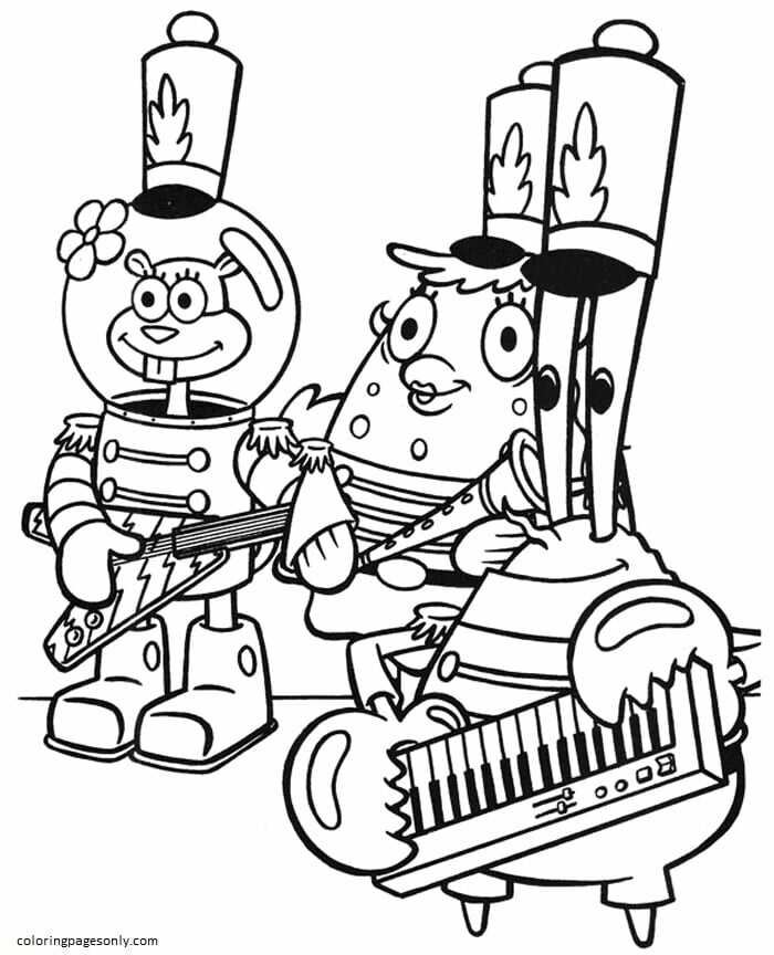 Sandy Cheeks, Puffand And Krabs Coloring Page