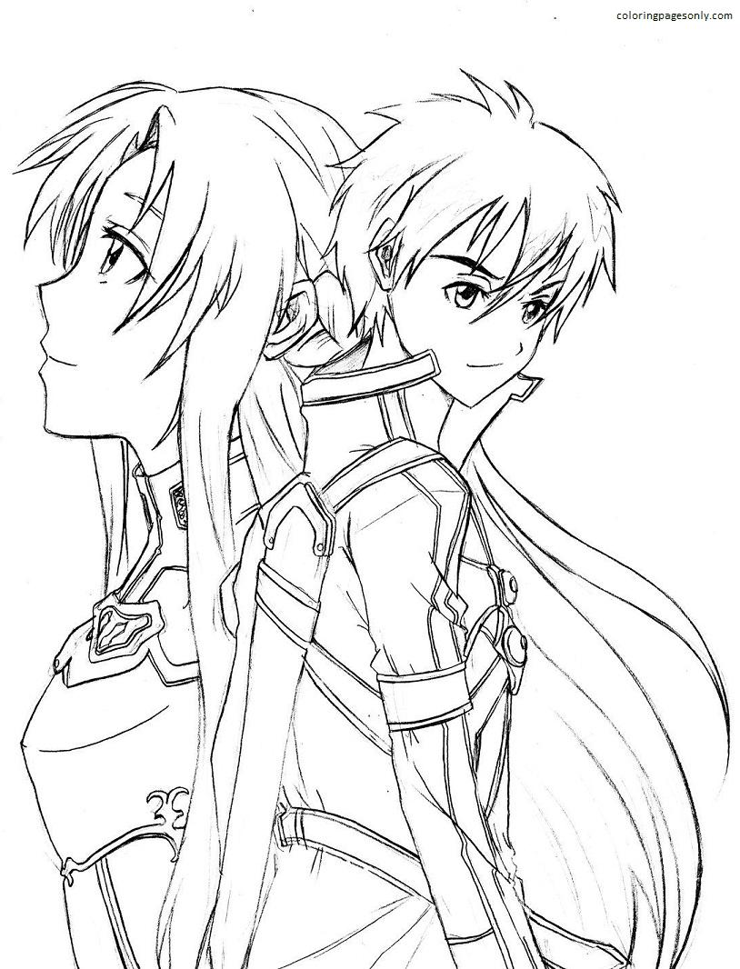Sao Kirito And Asuna Drawing Coloring Page