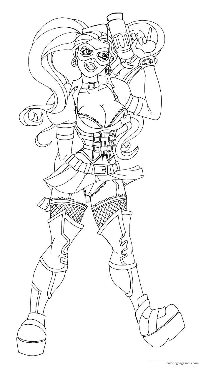 Sexy Adult Gun Harley Quinn Coloring Page