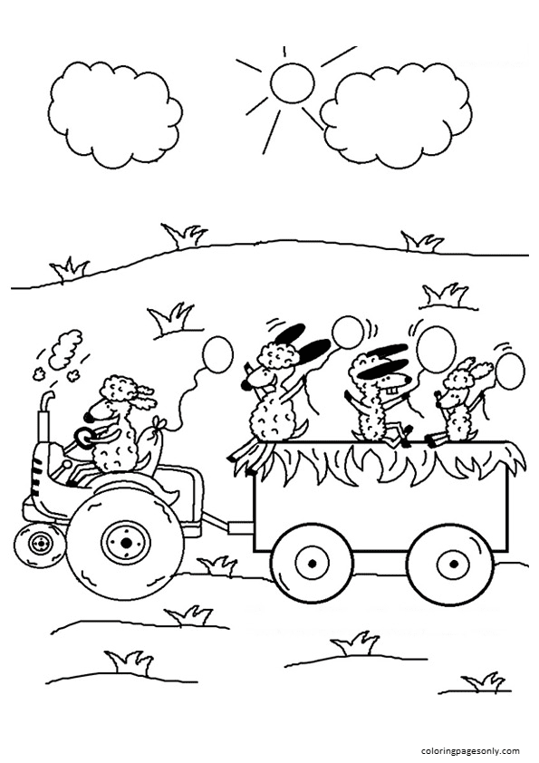 Sheep Driving The Tractor Coloring Page