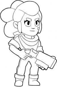 Shelly from Brawl Stars has a spread-fire shotgun blasts Coloring Page