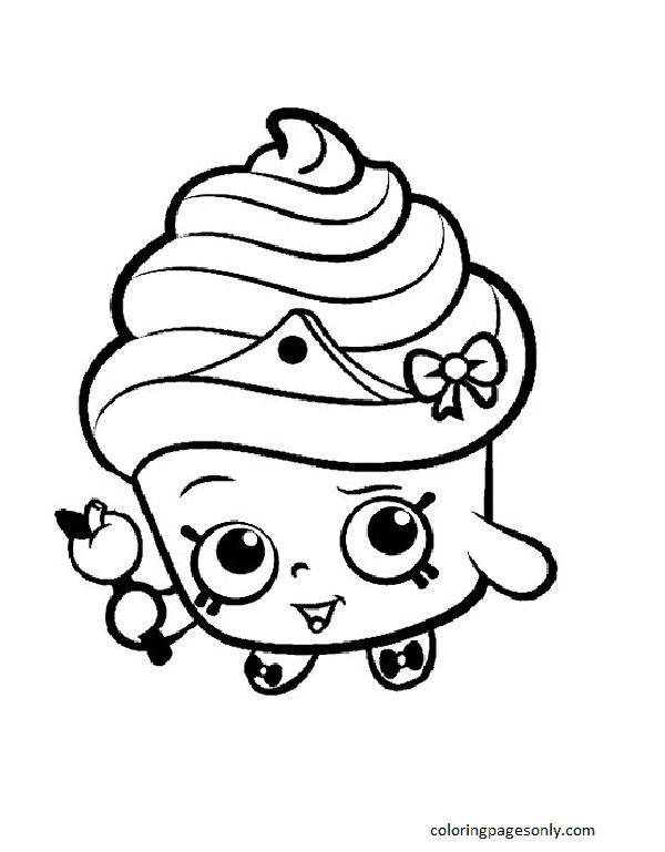 Shopkins Cupcake Black White Queen Coloring Page