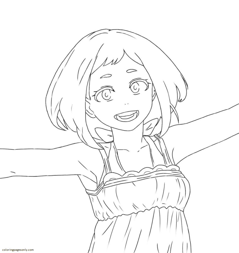 Short hair girl Coloring Page