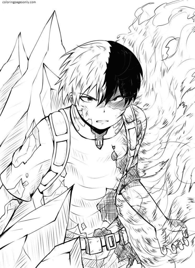 Shoto Todoroki In MHA Coloring Page
