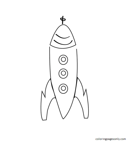 Simple Drawing of Rocket Coloring Page