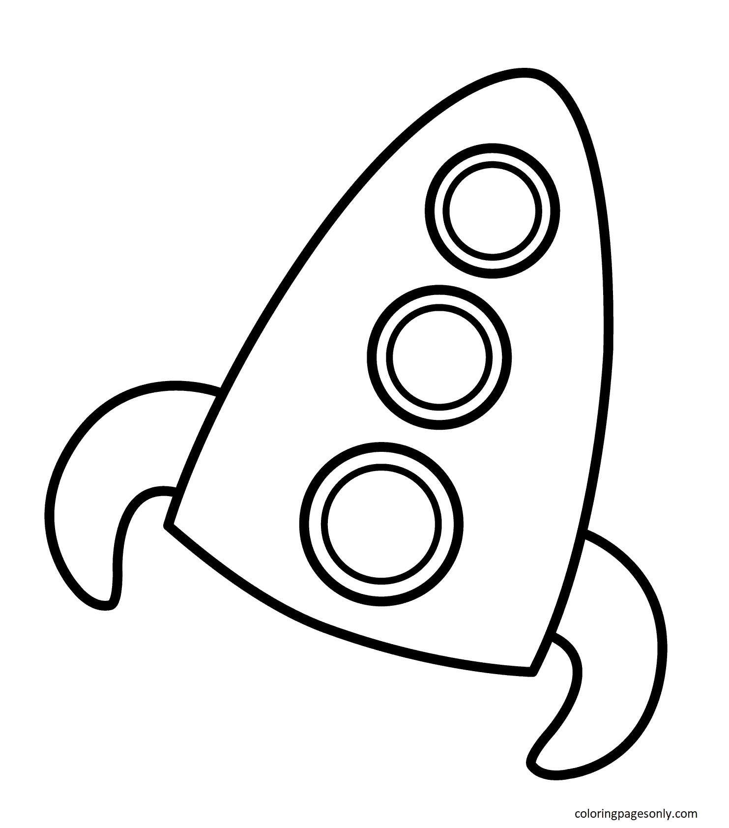 Simple Rocket Coloring Page