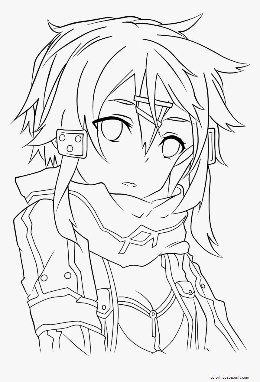Sinon Asuna Line Art Kirito Drawing Coloring Page