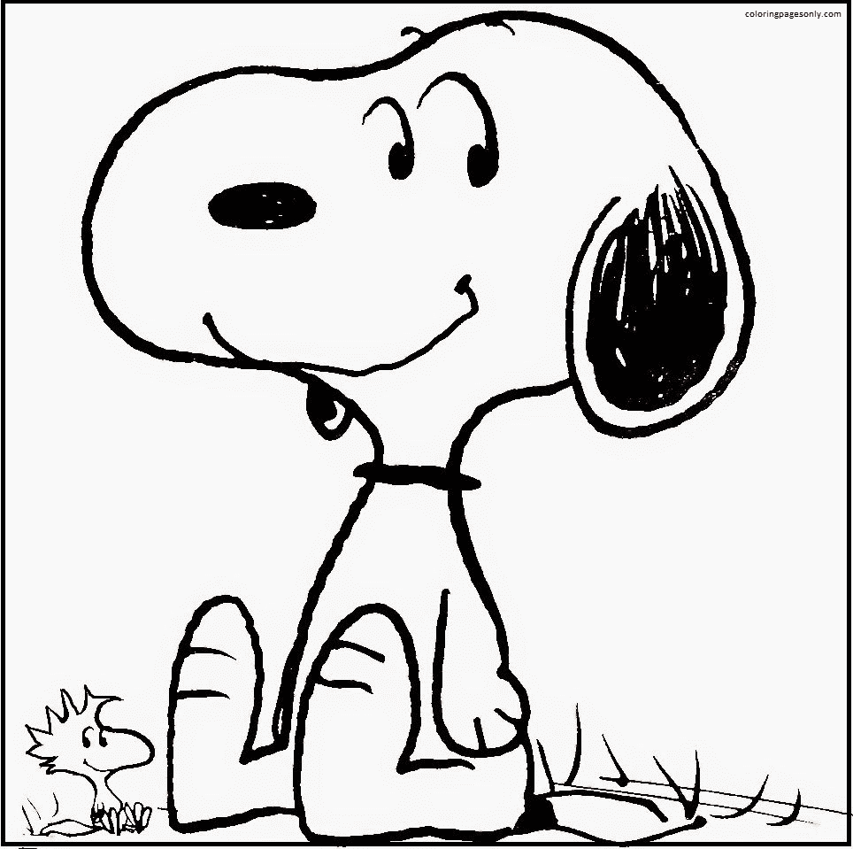 Snoopy And Woodstock Smiling Coloring Page