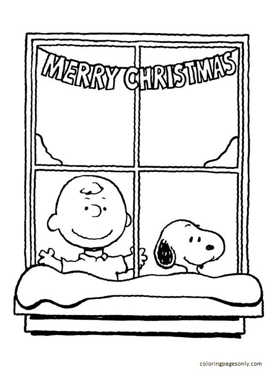 Snoopy Charlie Brown Christmas 1 Coloring Page