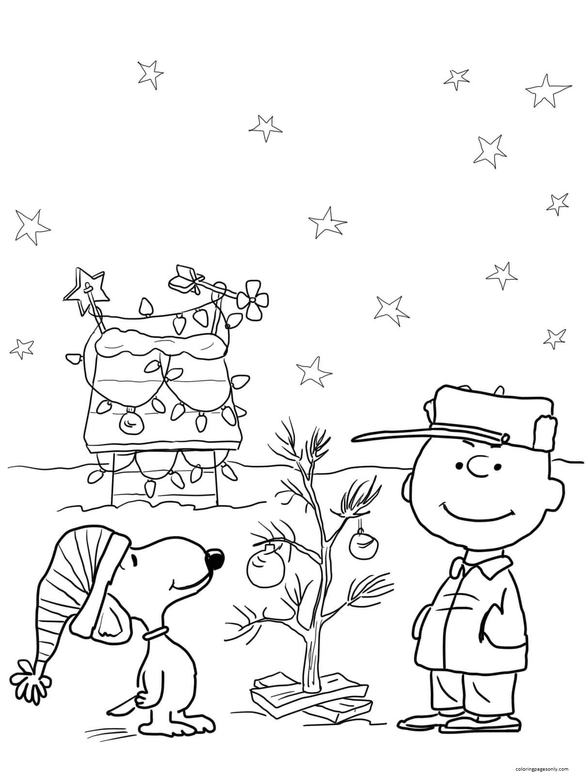 Snoopy Charlie Brown Christmas Coloring Page