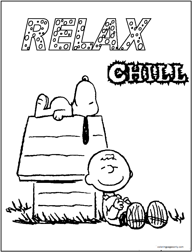 Snoopy Charlie Brown Home Coloring Page