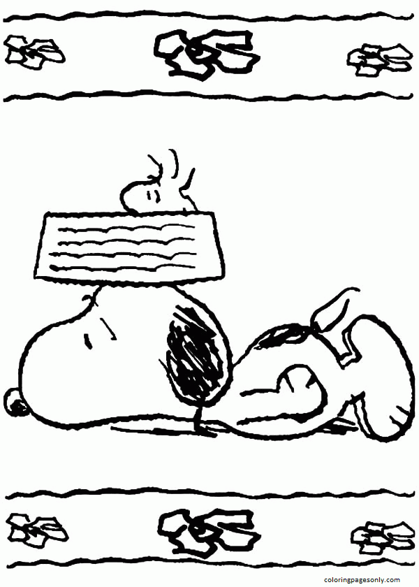 Snoopy Feeling Tired Coloring Pages