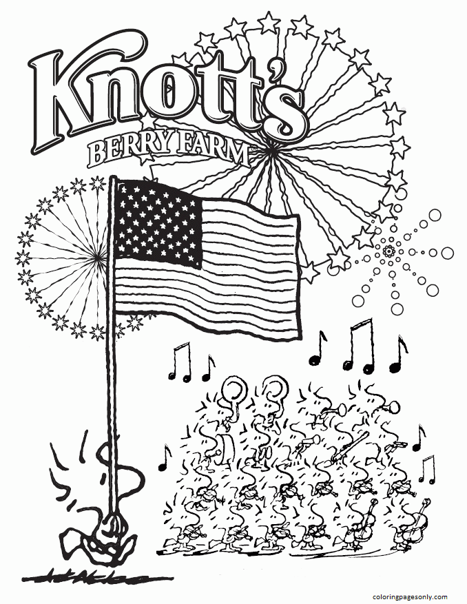 Snoopy, Fourth Of July Coloring Pages
