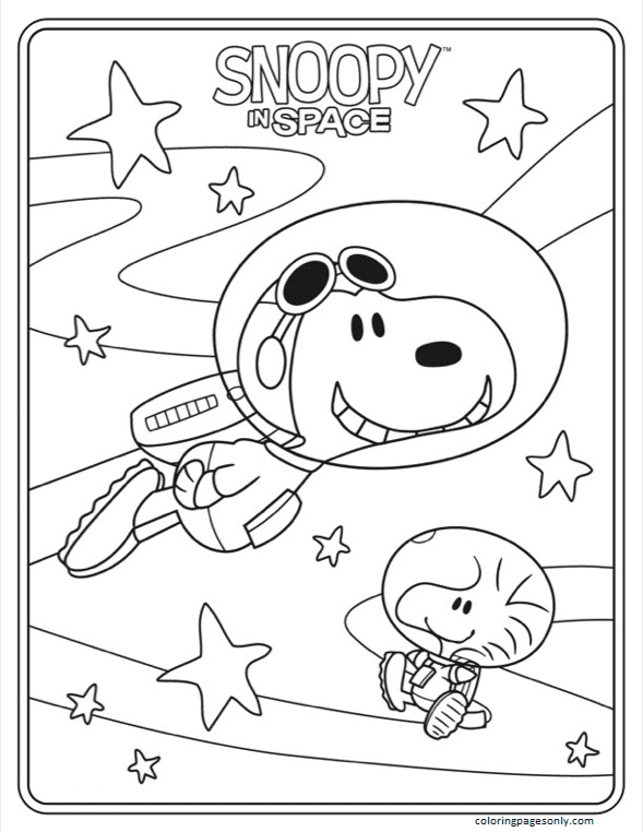 Snoopy In Space 2 Coloring Page
