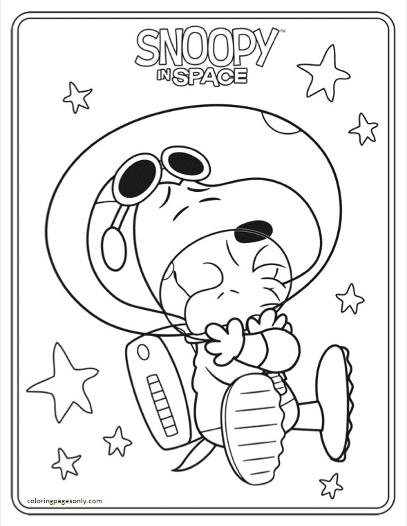 Snoopy In Space Sheet 1 Coloring Page